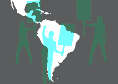 Latin America map and protesters image for event