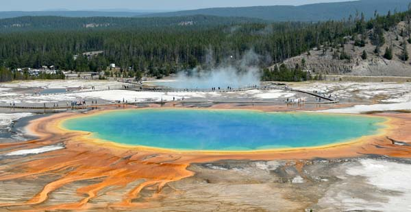 Grand Prismatic Hot Spring at Yellowstone's Midway Geyser Basin by R. Thoma