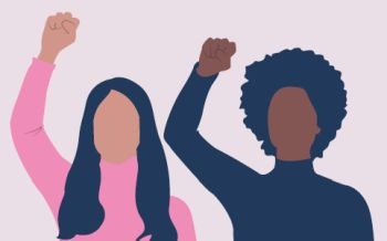 Drawing of a man and woman in sillhouette with one fist raised