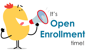Yellow Cartoon with Megaphone with text reading open enrollment
