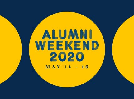 Alumni Weekend 2020, May 14-16 Title in Blue and Gold
