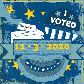 A graphic that shows an I Voted sticker and the date 11.3.2020