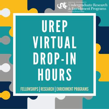 UREP Drop-in Hours text with puzzle pieces in the background