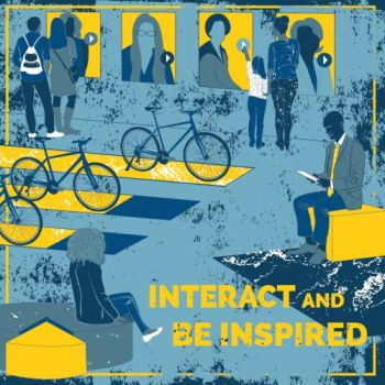 Graphic with text: Interact and Be Inspired