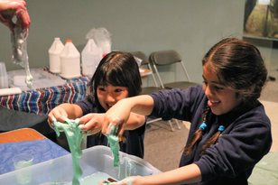 Girls making slime