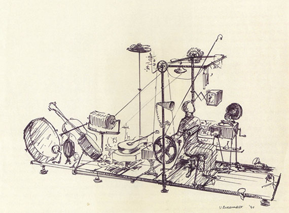 sketch of musician seated in music machine
